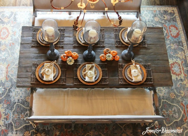 Fall table decorating ideas from Jennifer Decorates - beautiful table from Julie McCoy Interiors