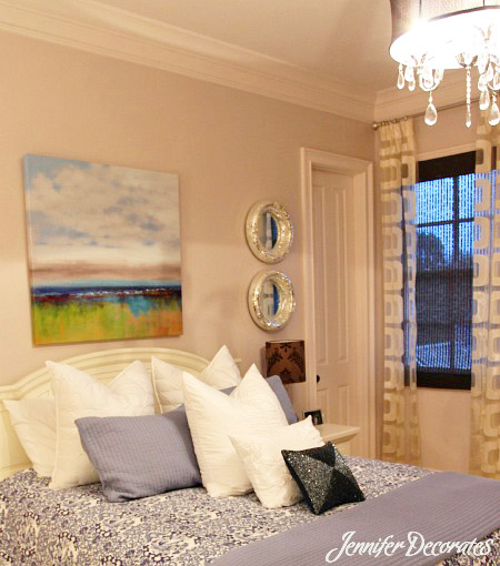 Guest Bedroom Ideas from Jenniferdecorates com  This is a beautiful guest  room of an acquaintance of mine  I absolutely love the light fixture. Guest Bedroom Decorating Ideas   Create a Fabulous Room