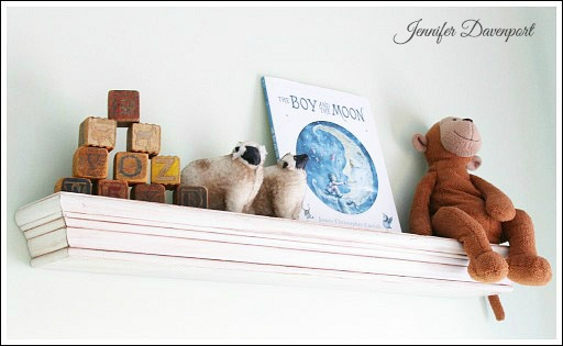 Accessorizing a kids bookshelf - from Jenniferdecorates.com