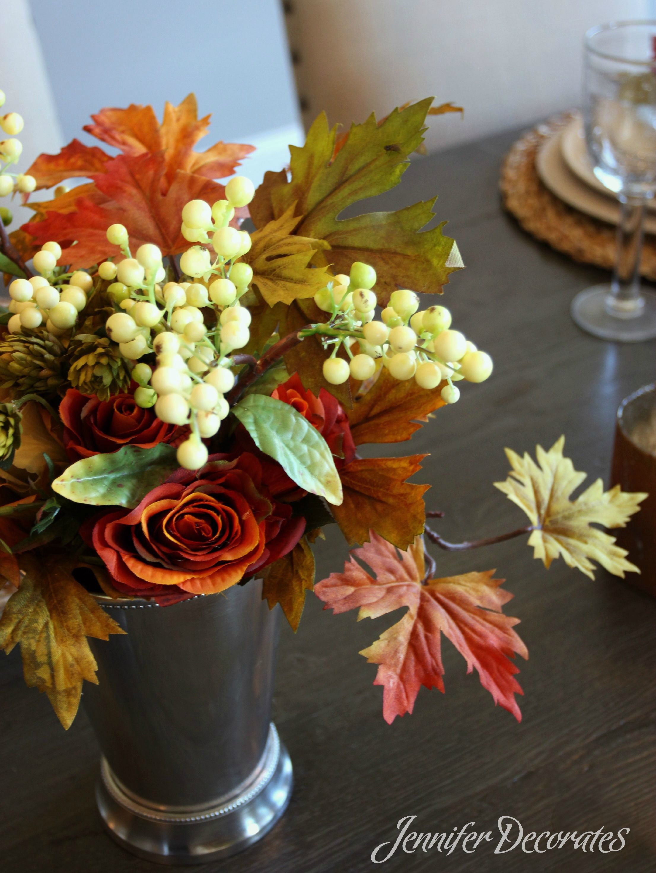 Create A Small Fall Floral Arrangement For An Outdoor Table