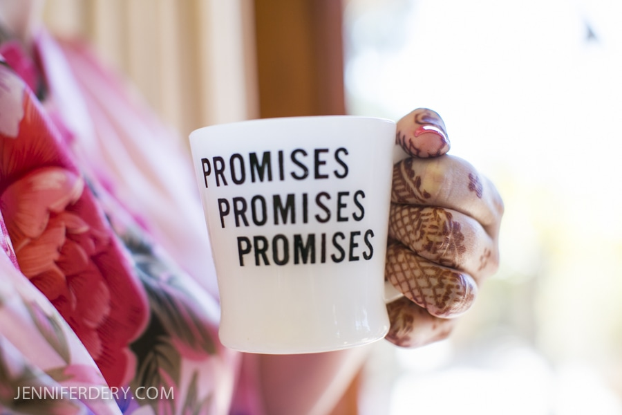 photo of vintage coffee cup that says: promises promises promises