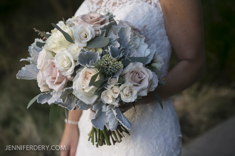 photo of blush roses and grey dusty miller wedding bouquet