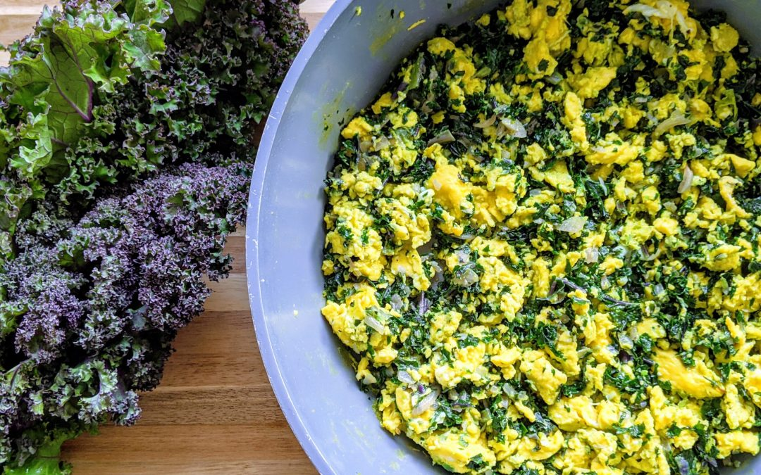 Scrambled Eggs with Kale Pesto