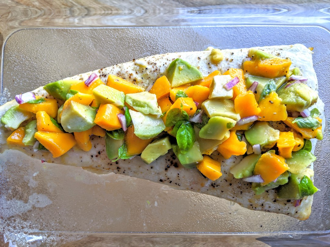 wild halibut with avocado and mango salsa