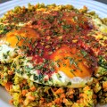 "Fried Eggs on Vegetable ""Rice"" (Keto, Paleo)"