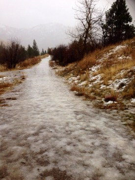 icy trail in Missoula