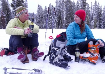skiers drinking wine in Montana