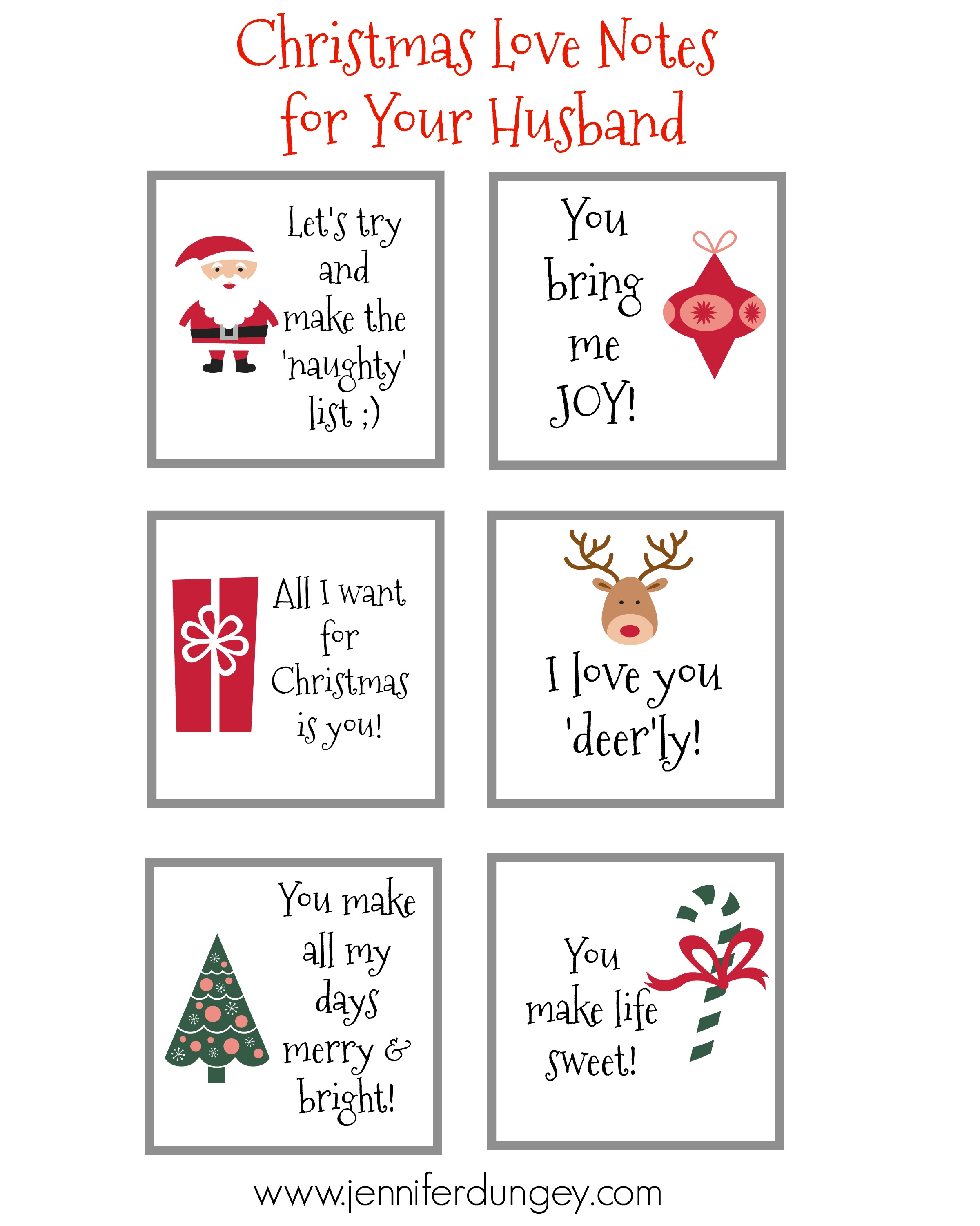 Christmas Love Notes For Your Husband Free Printable