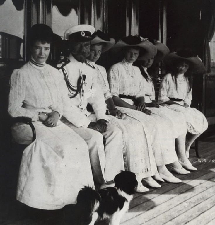 Marie and her family on the Imperial yacht:  Marie, Nicholas II, Olga, Tatianna, Marie and Anastasia