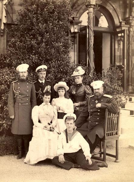 The Empress and her family: from left:  Tsarevich Nicholas, Grand Duke George, Marie, Grand Duchess Olga, Grand Duke Michael, Grand Duchess Xenia, Emperor Alexander III