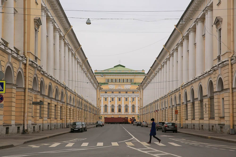Elegant Rossi St. in St. Petersburg is considered the city's most perfectly-proportioned street, named in honor of the architect who designed it.