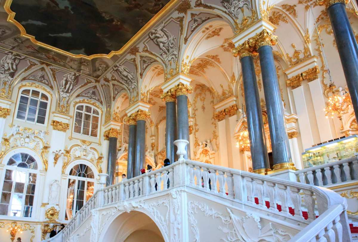 The staircase in the Winter Palace the primary residence of Russia's tsars, and today home to the world-renowned Hermitage Museum.