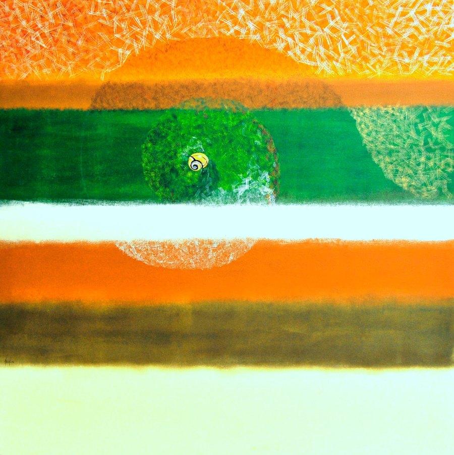 CHIOCCIOLA olio acrilico collage 83 x 83 (2008)