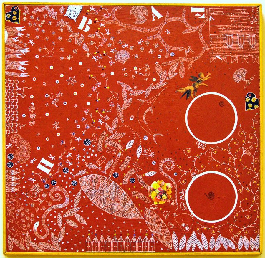 FABULA CON BOUQUET olioacrilico collage smalto 47 x 46 (2006)