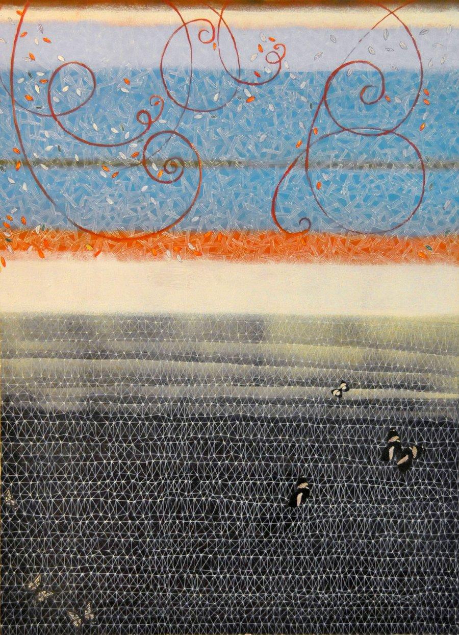 ARCHITETTURA 1 SOSPESA olio acrilico collage 61,5 x 45 (2008)