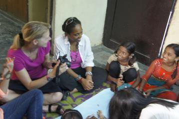 Visiting a NGO school for at-risk girls in a Delhi slum
