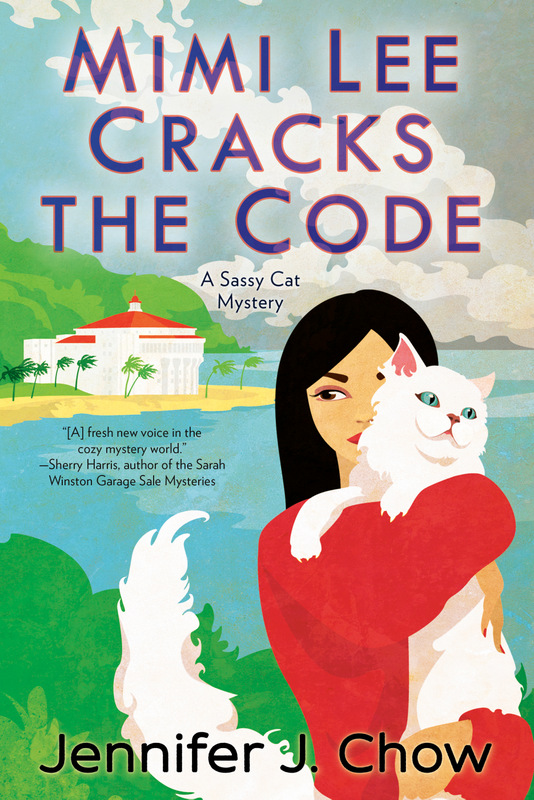 Mimi Lee Cracks the Code book cover; pet groomer Mimi Lee with cat Marshmallow on Catalina Island