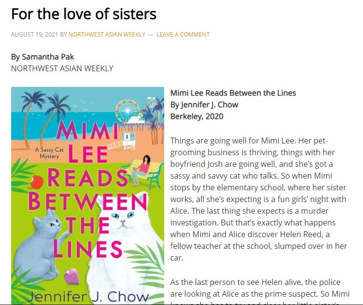 Picture of article in Northwest Asian Weekly talking about Mimi Lee Reads Between the Lines