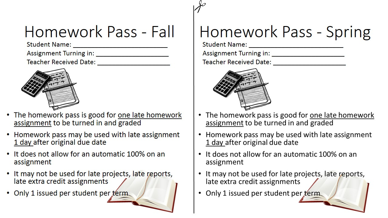 Customizable homework pass