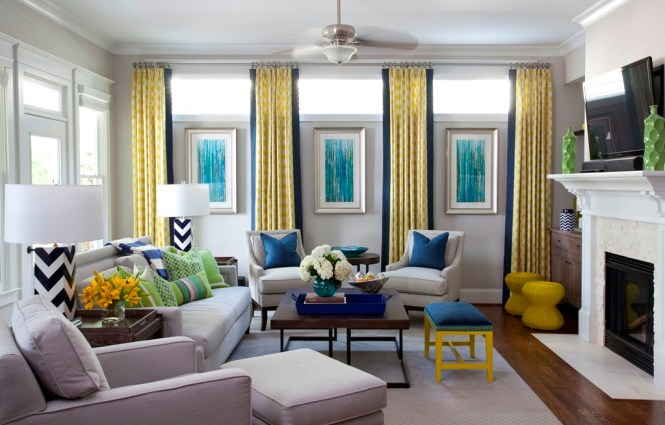Yellow Wall Room With Colorul Pictures Combined Blue Velvet
