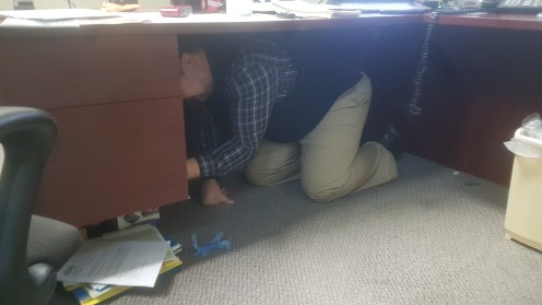 My Constituency Assistant Josh McLeod takes cover at my office in Prince Rupert