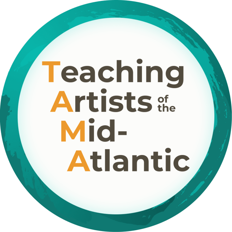 Teal band encircles the words Teaching Artists of the Mid-Atlantic.