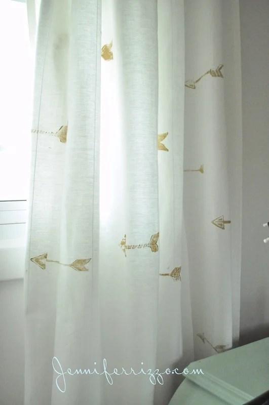 Hand Stamped Custom Gold Arrow Curtains Jennifer Rizzo