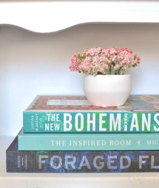Boho book stack new bohemians,the ipired room,foraged flora