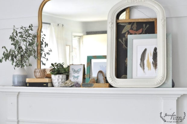 Natural fireplace mantel with boho elements