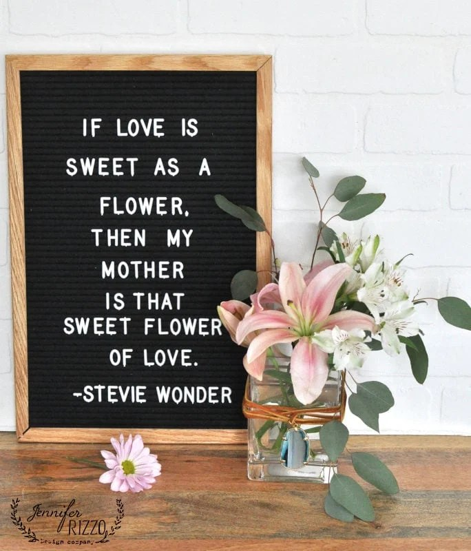 Letterboard Mother's Day quote and DIY boho vase
