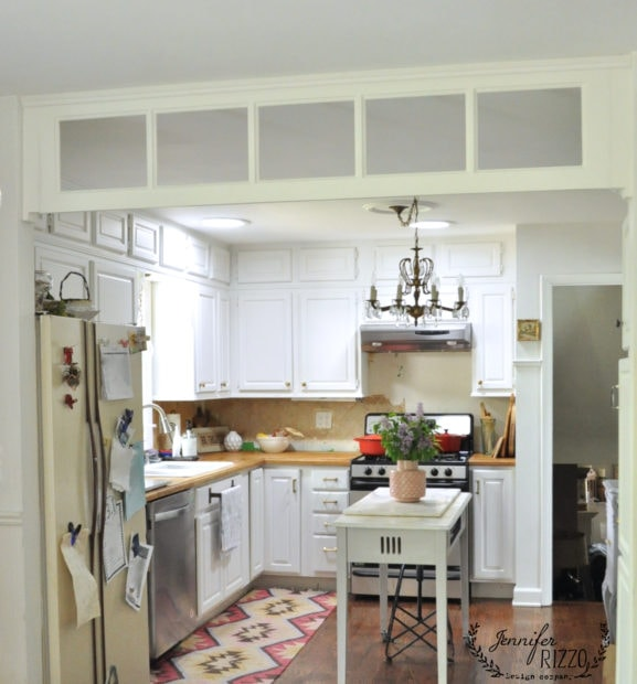 KItchen transom window from a vintage french door