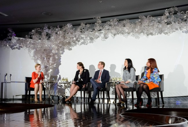 Moderating the panel at the Spotlight on Japan International Women's Day event Photo Credit: LIFE14