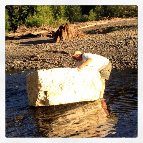 This is a gigantic chunk of foam found floating in the Skokomish River