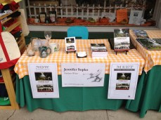 Here is my little table at the Ligonier Sweet Shop, where I greeted passers-by during Fort Ligonier Days. (Photo by Jennifer Sopko)