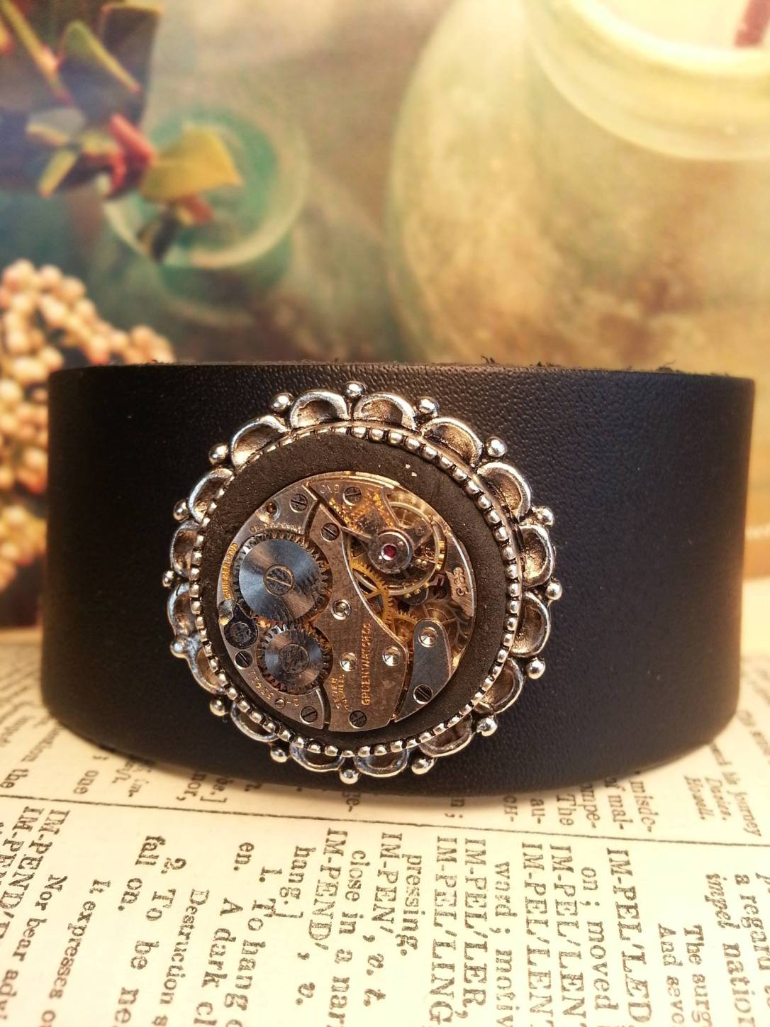 Vintage Key leather cuff