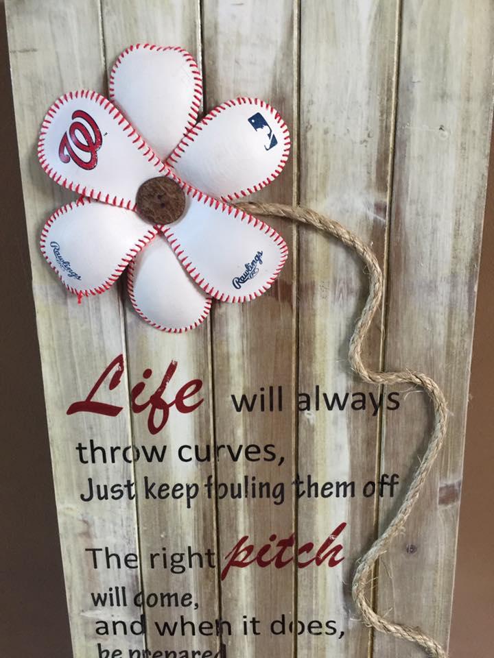 Trish baseball wood sign