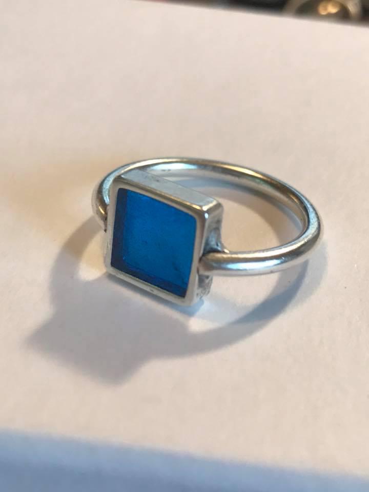 vintage key resin ring