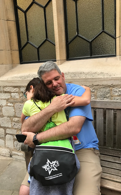 Chris hugging Liney at Tower of London