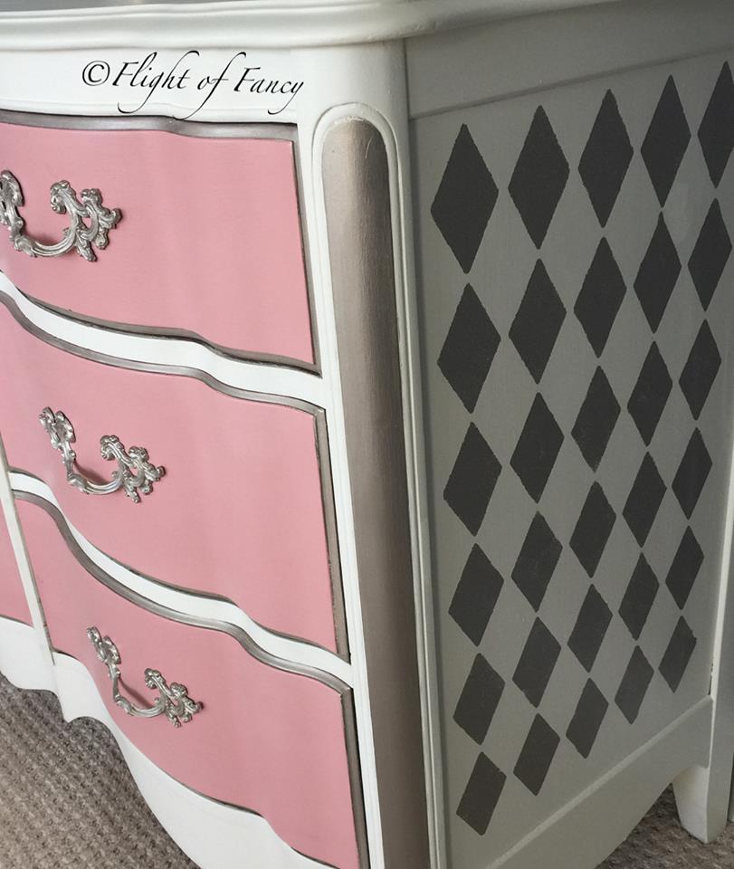 flight of fancy pink and harlequin dresser