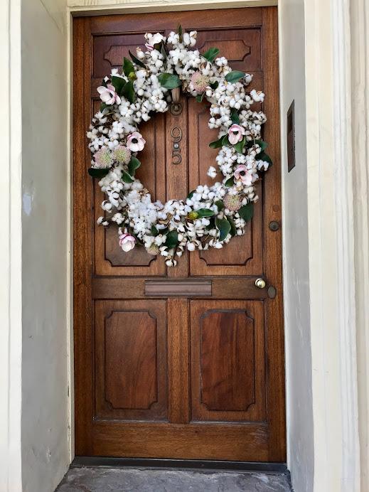 Charleston magnolia wreath door
