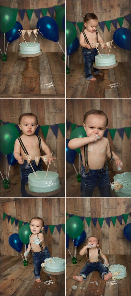 Smash Cake photos Richmond VA, Birthday Portraits | Cake Smashing | Bubble Bath Fun | Woodlake, VA, navy, green, wood backdrop, suspenders, one, first birthday,
