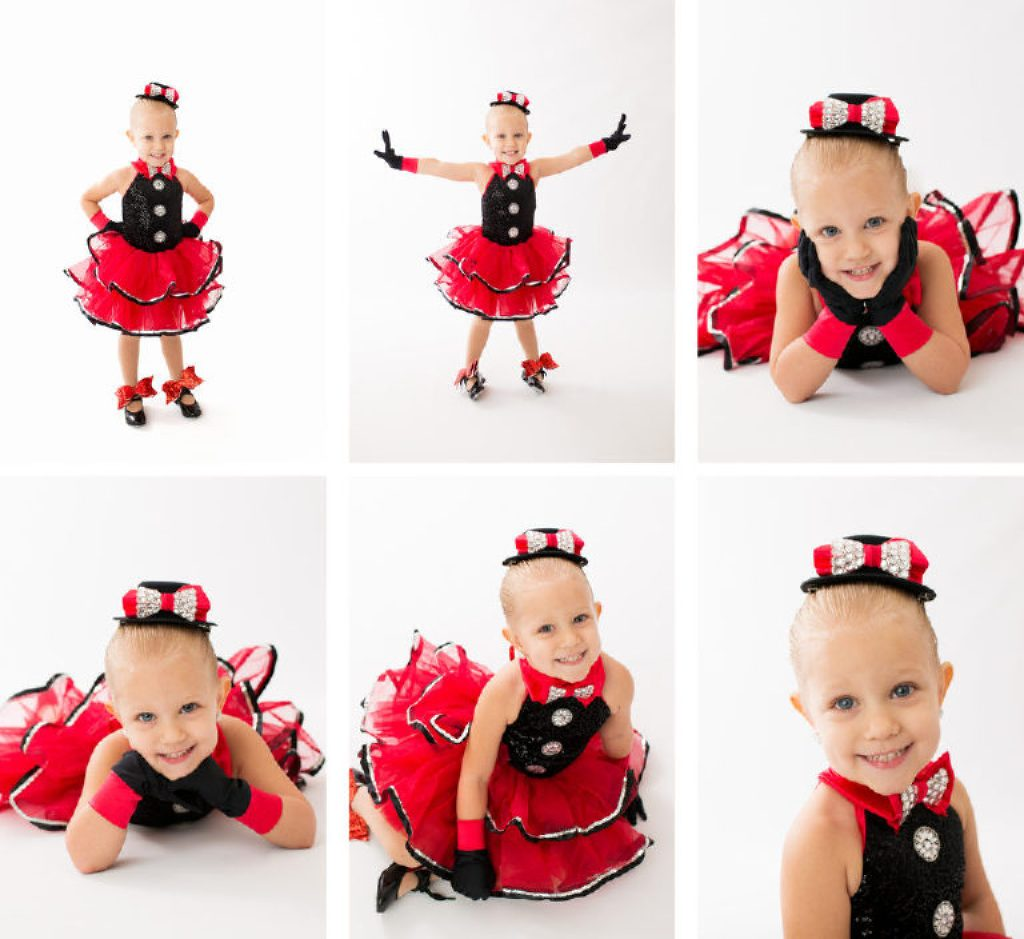 Petersburg dance studio photography, red and black tap outfit with bows and hat
