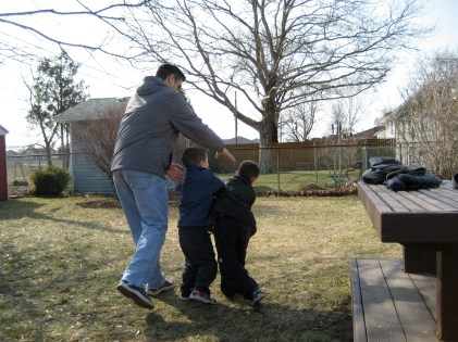 More fun in the backyard at our old house in another city,
