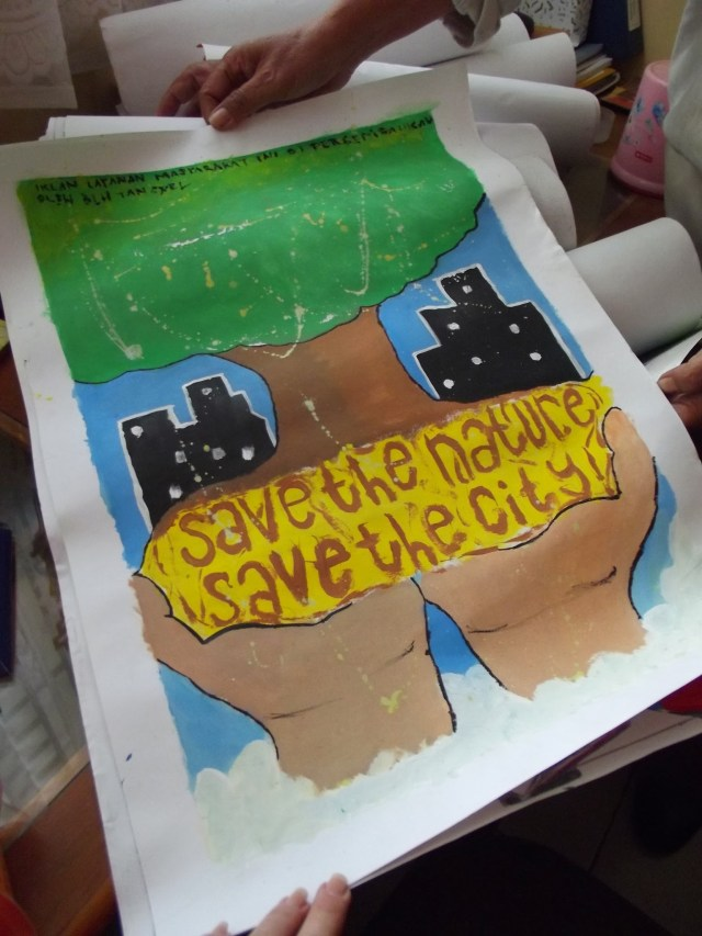 Indonesian school project about climate change.