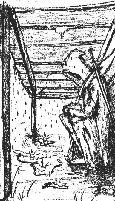 Figure Under Porch Sketch from The Adventure Book