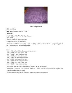 Single page pattern with a small picture of a purple scarf in the top center and the pattern under that