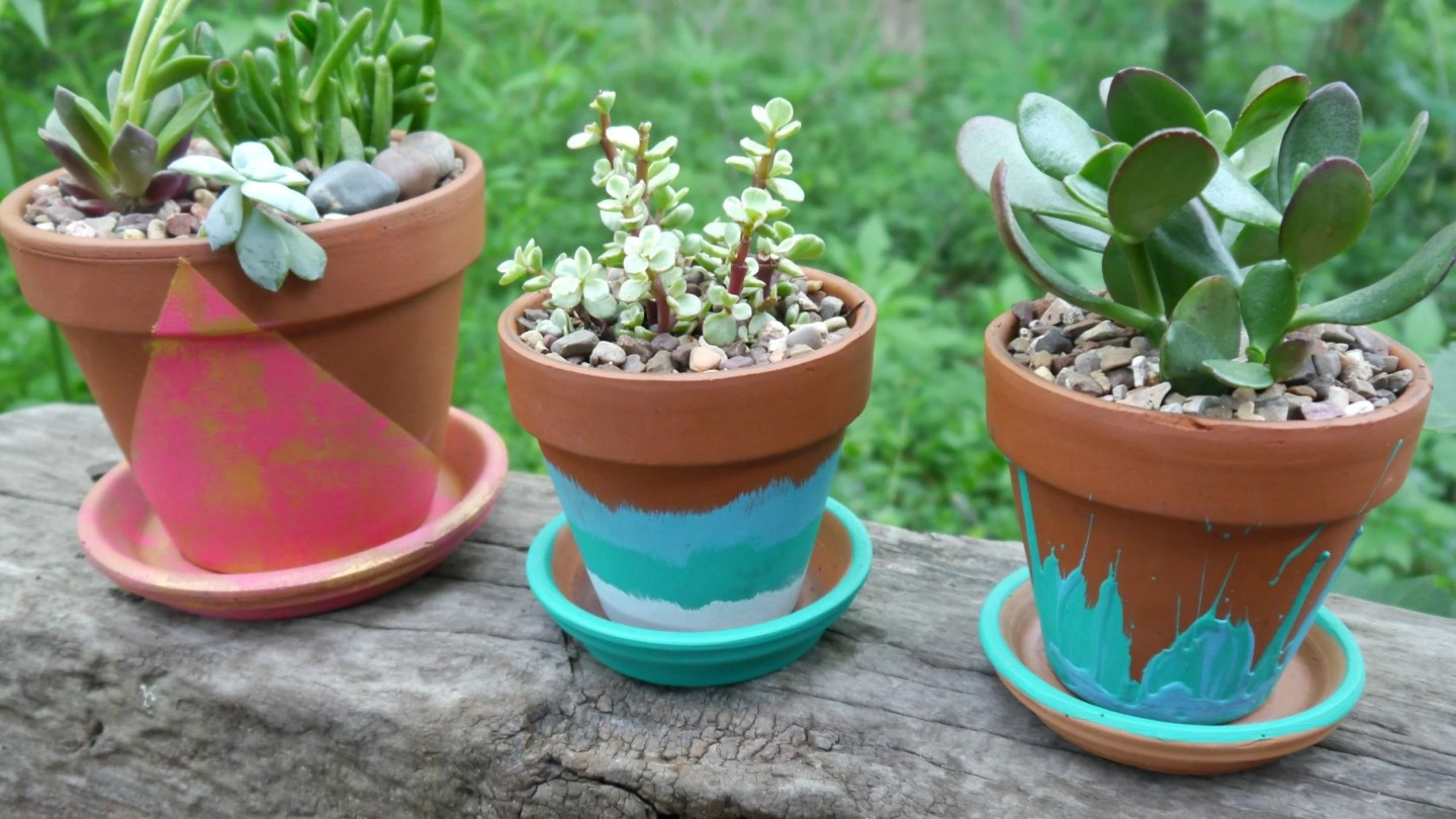 Hand Painted Terracotta pots