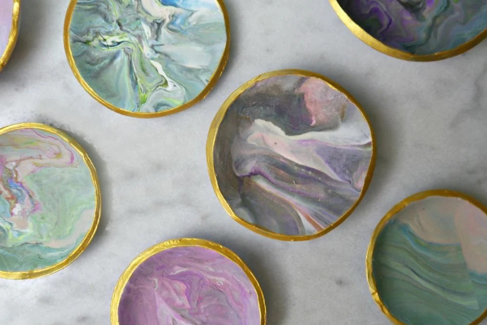 Marbled Clay Jewelry Dishes DIY