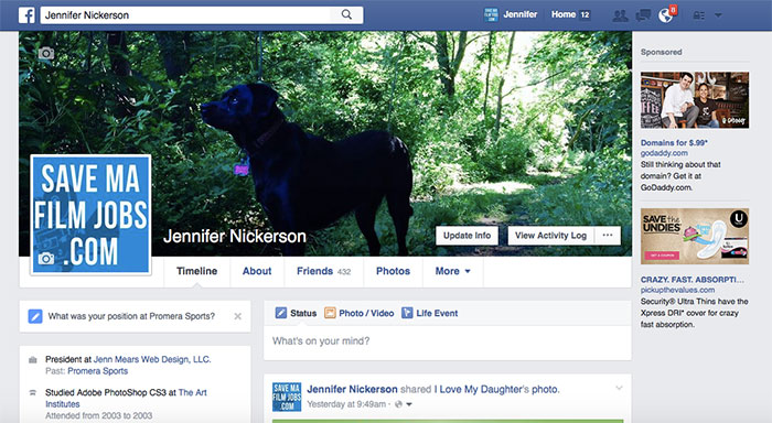 For example: this is my personal Facebook profile (that's my dog Addie!)
