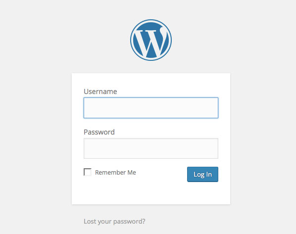 The typical WordPress login screen